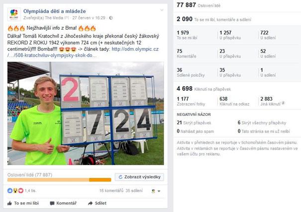 Olympiáda dětí a mládeže 2017 - 7 - vysledky Facebook kampane